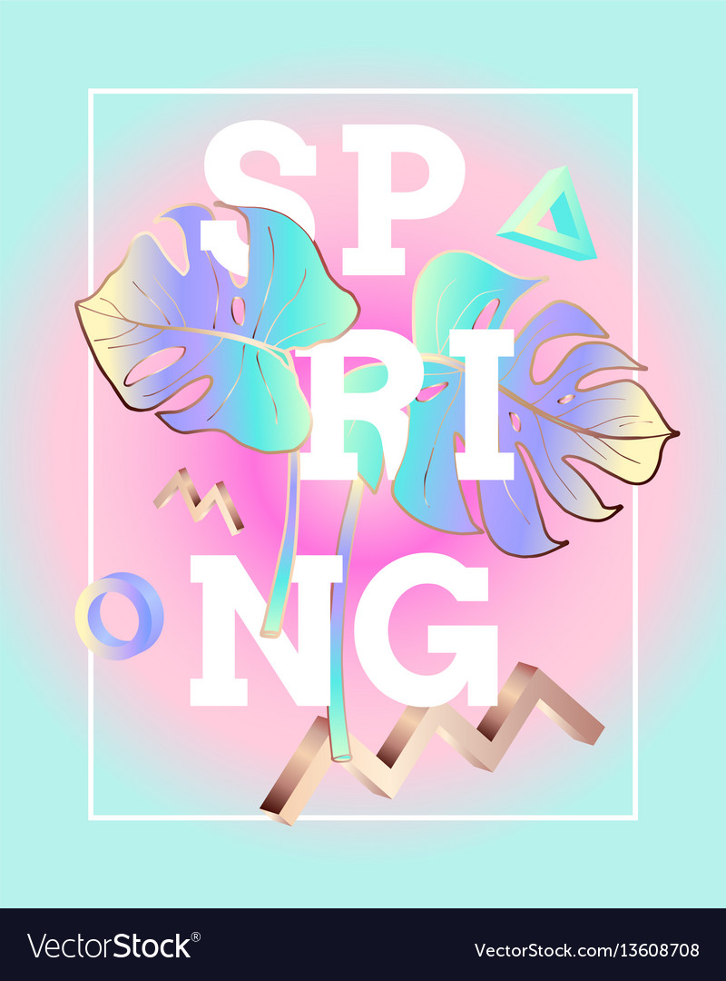 Spring poster in the style and colors of vaporwave