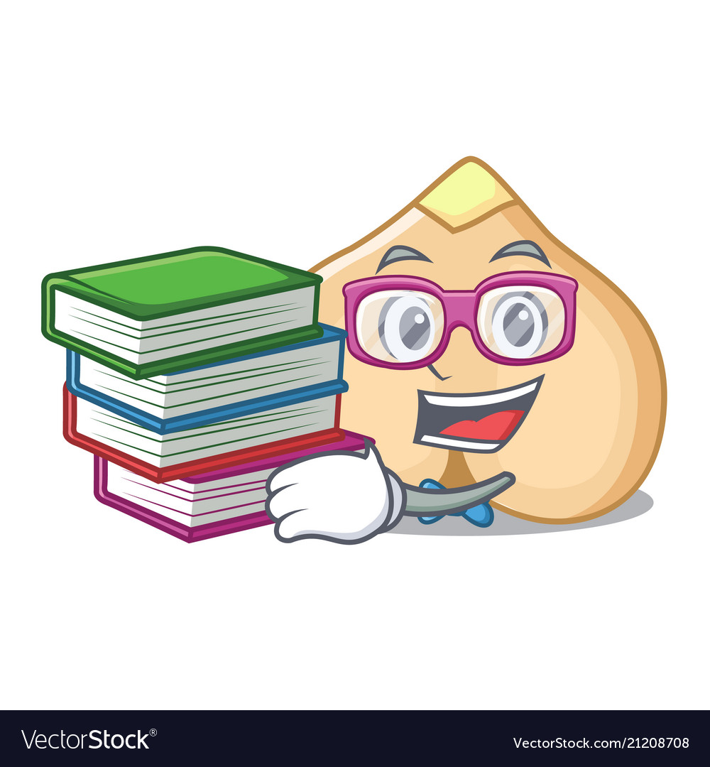 Student with book chickpeas mascot cartoon style
