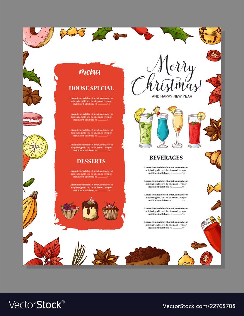 Christmas Restaurant Poster.Template For Restaurant Brochure Christmas