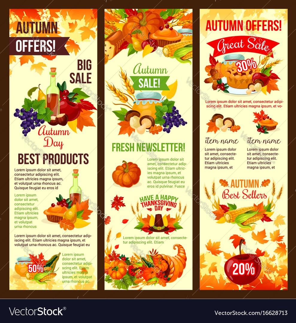 Autumn sale banner set of fall harvest celebration vector image