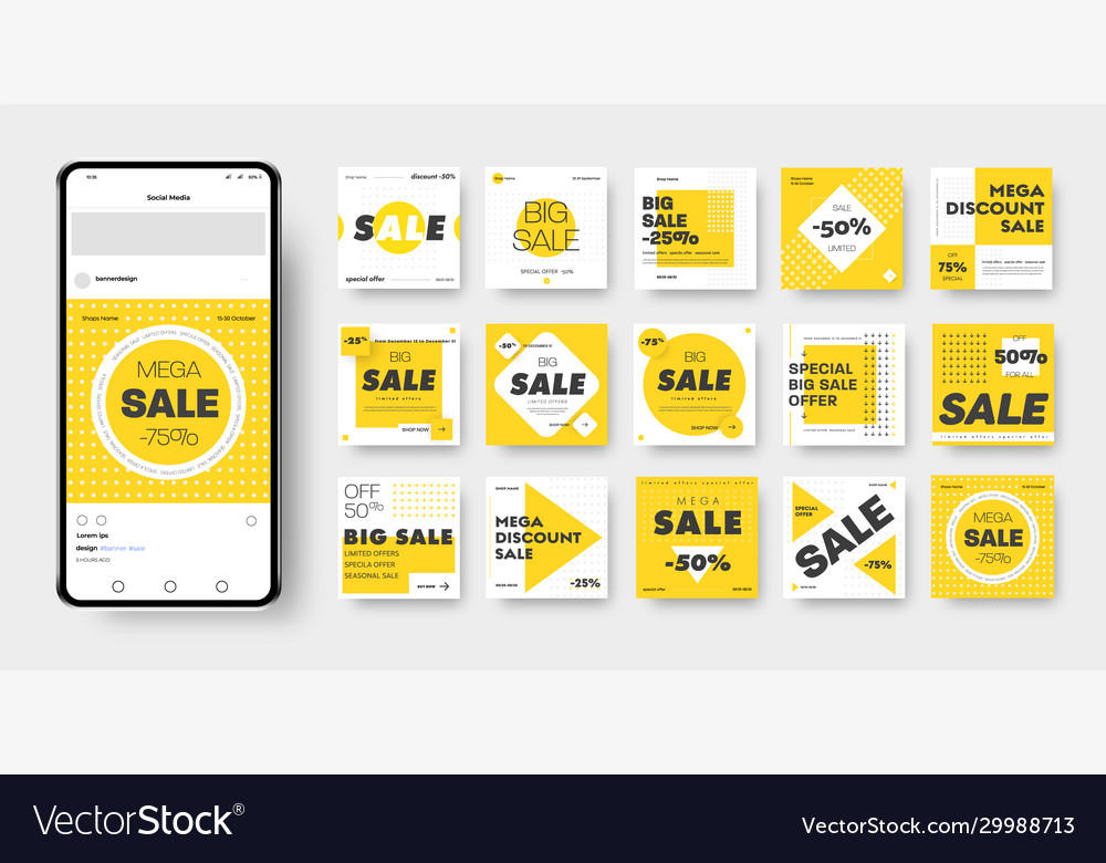 Banner template with yellow black and white