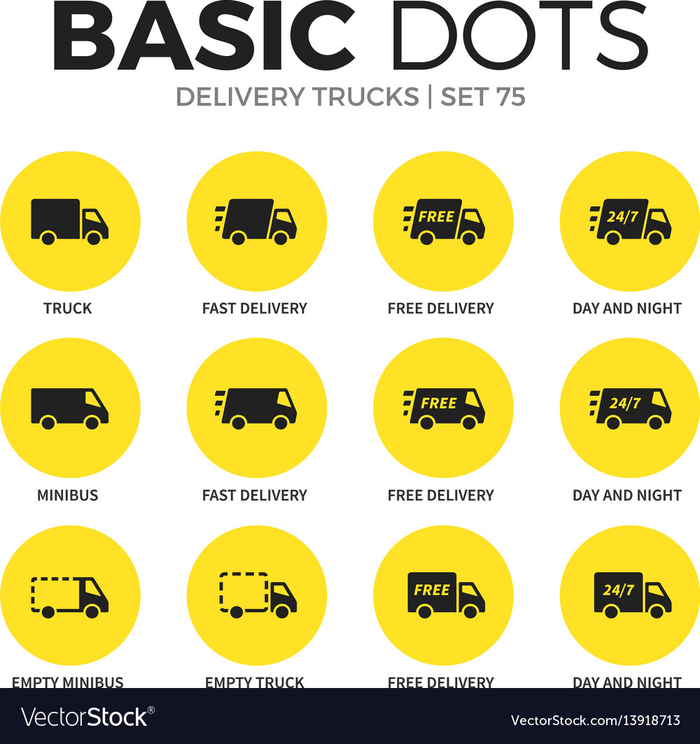 Delivery trucks flat icons set vector image