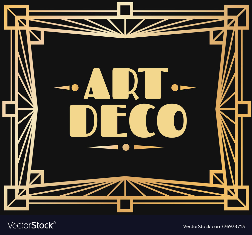 Gold art deco frame border with graphic 1920s