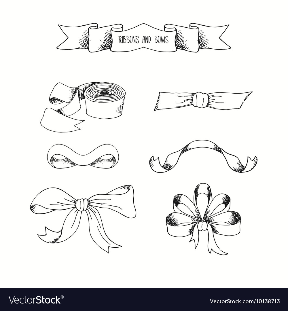Hand drawn ribbons set banners collestion
