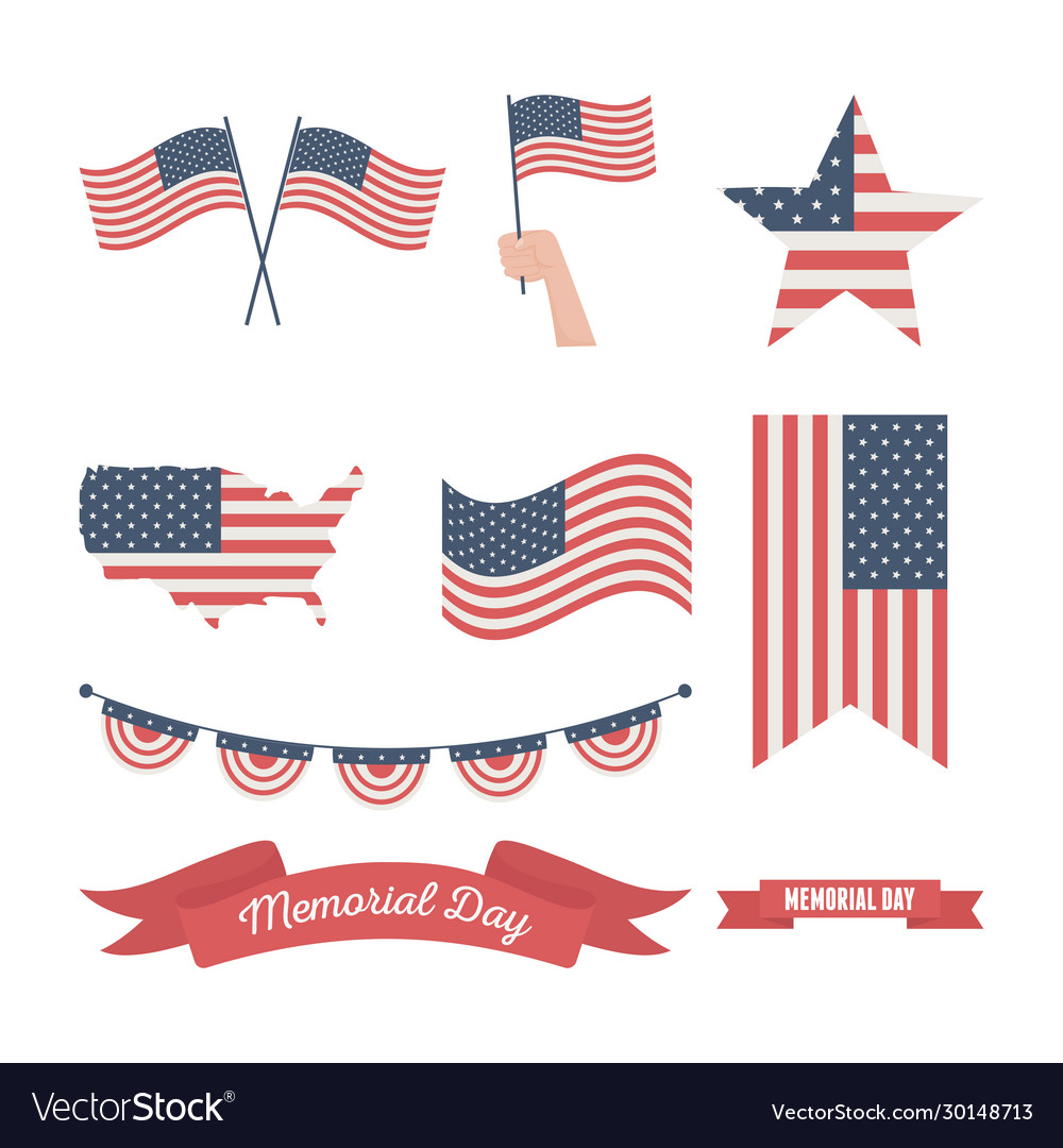 Happy memorial day united states flags different