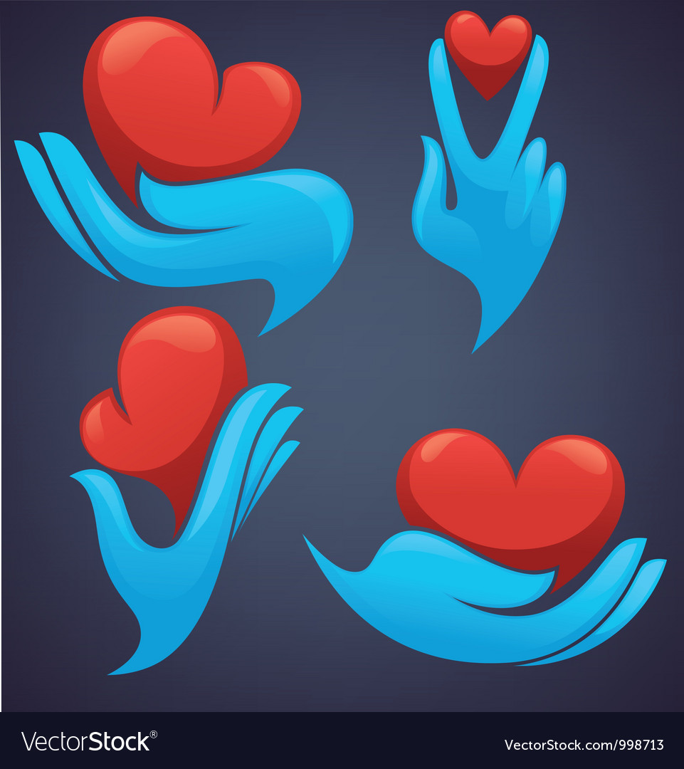 Human hands and decorative heart