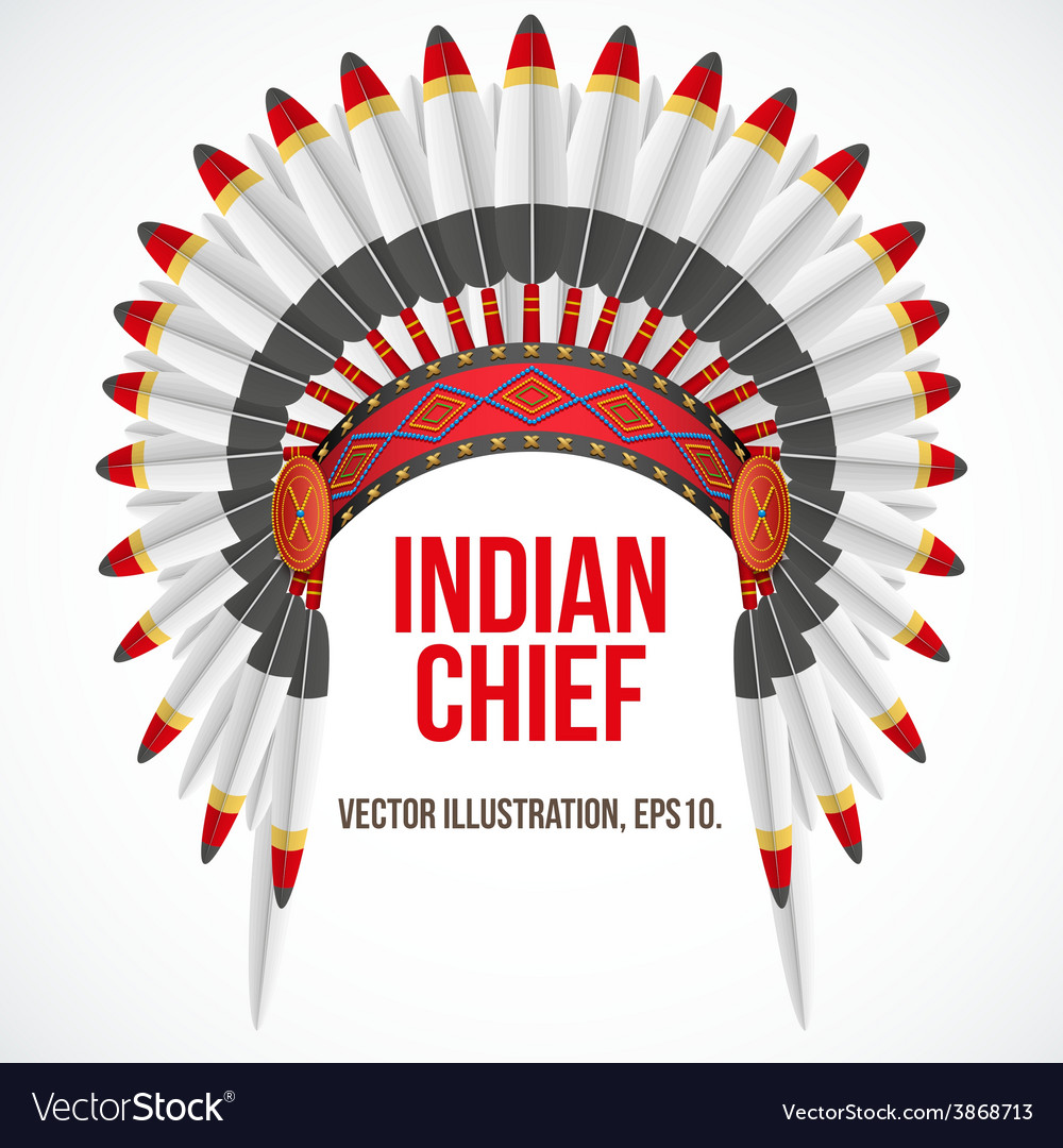 Indian chief hat with plumage Front view