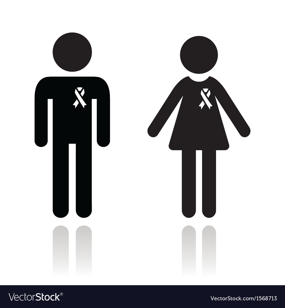 Man and woman with awareness ribbons icons