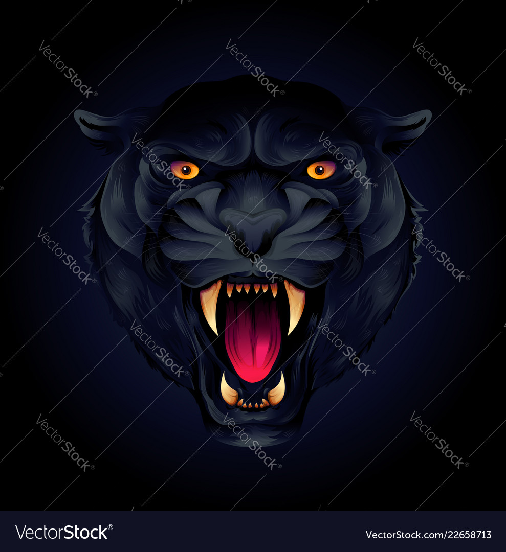 Portrait of a tiger head or black panther on a