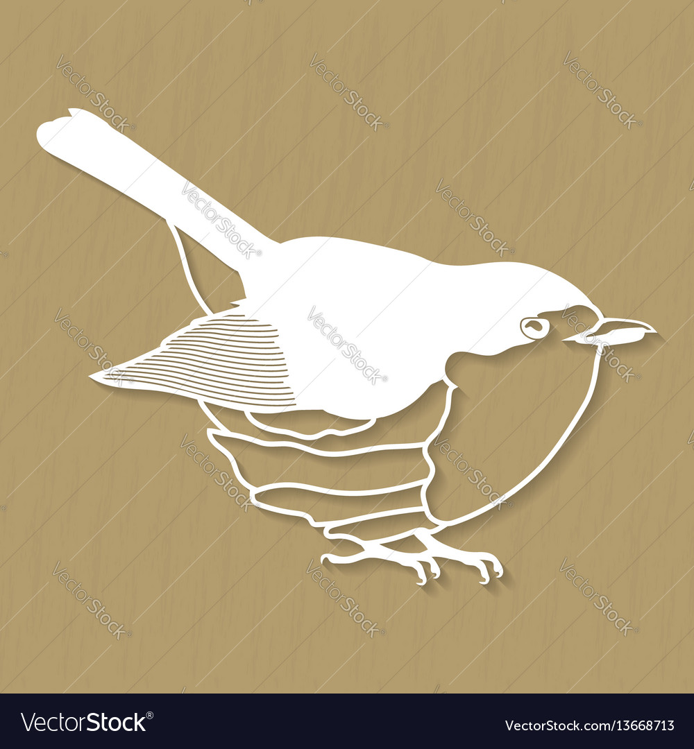 Robin bird design for plotter or laser cutting vector image