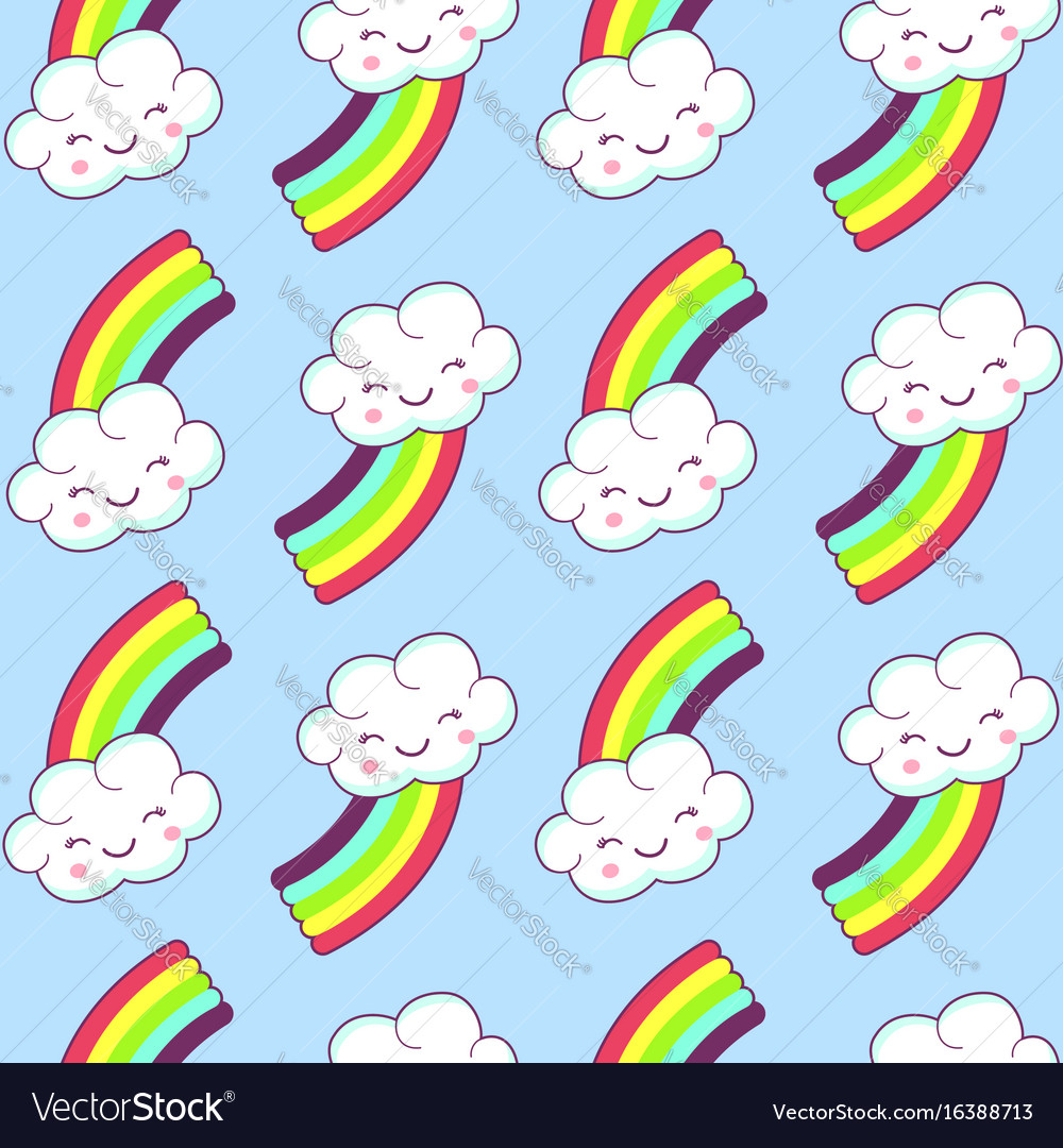 Seamless pattern with cloud and rainbow
