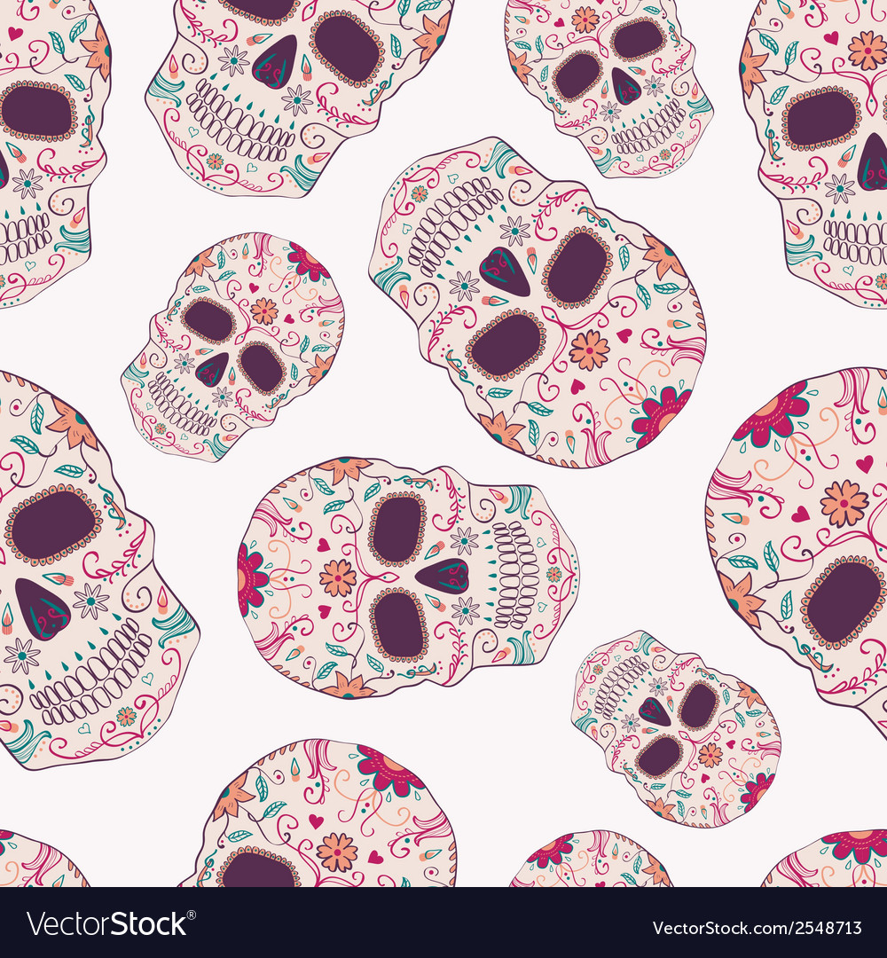 Seamless pattern with day dead skulls