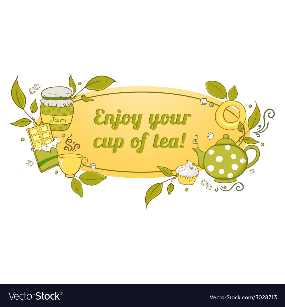 Tea and sweets label vector image