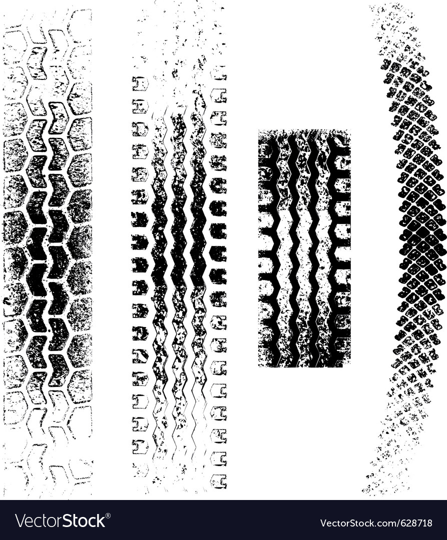 A collection of 4 grunge tire tracks negative and