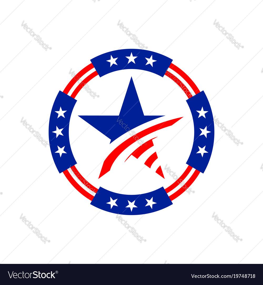 American circle stars emblem graphic design