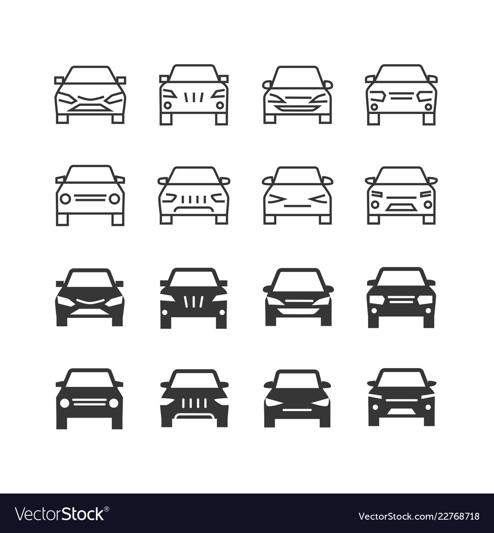 Autos front view line and silhouette icons