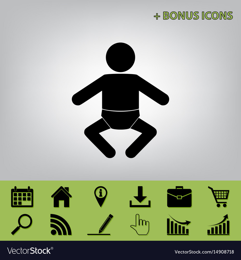 Baby sign black icon at gray vector image