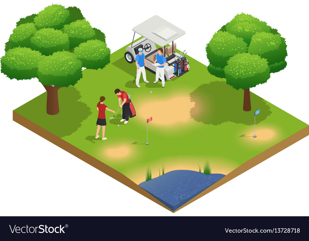 Green golf course isometric top view composition vector image