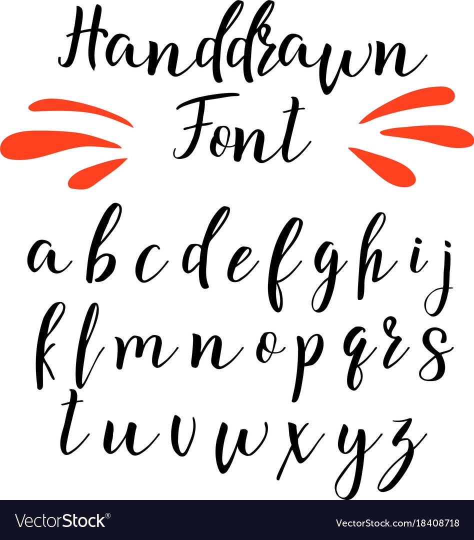 handwritten calligraphy font alphabet royalty free vector