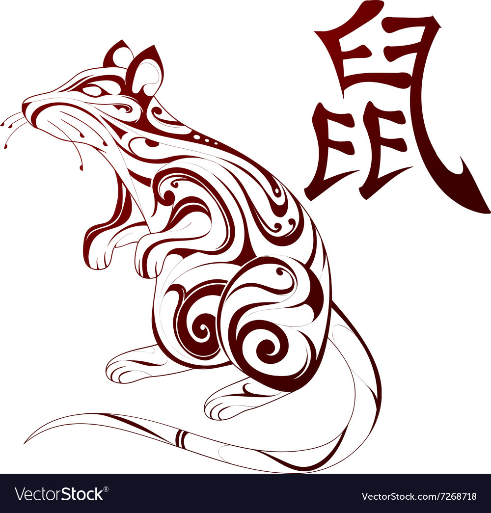 Rat As Symbol For Chinese Zodiac Royalty Free Vector Image
