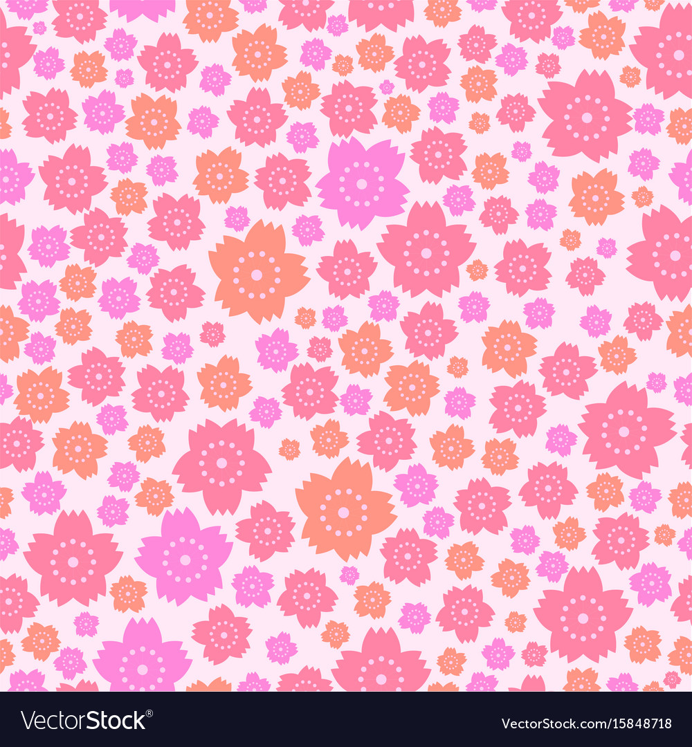 Seamless Pattern Of Cute Pink And Orange Flowers Vector Image