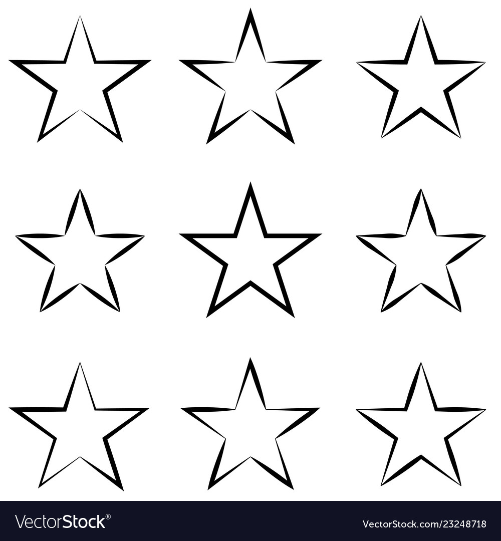 Set stars with calligraphic outline stroke