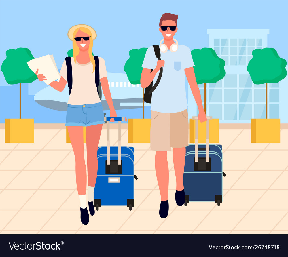 Travelers Arrival Tourists In Airport Royalty Free Vector