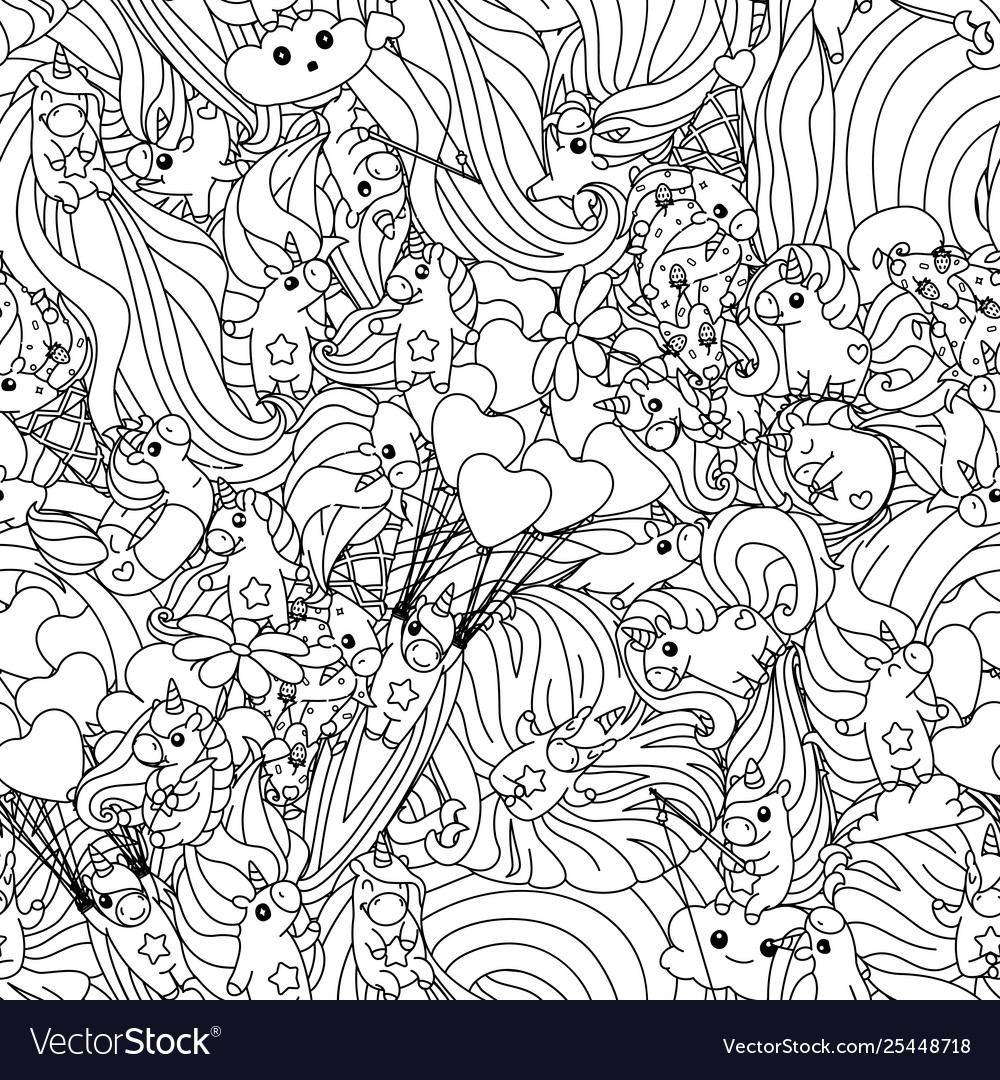 Unicorn Pattern Coloring Page Royalty Free Vector Image