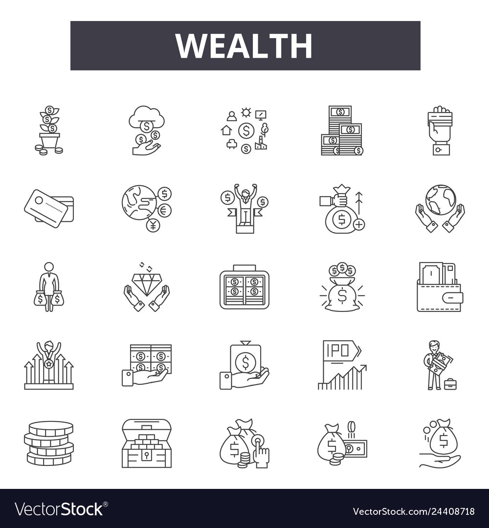 Wealth line icons for web and mobile design