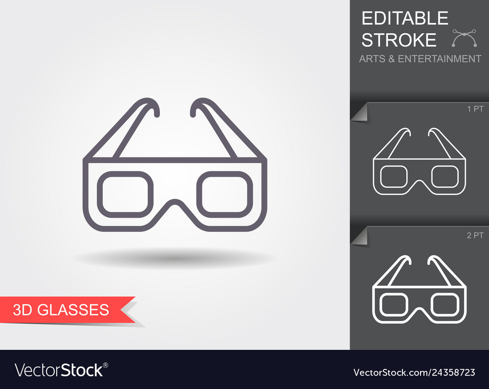 3d cinema glasses line icon with editable stroke