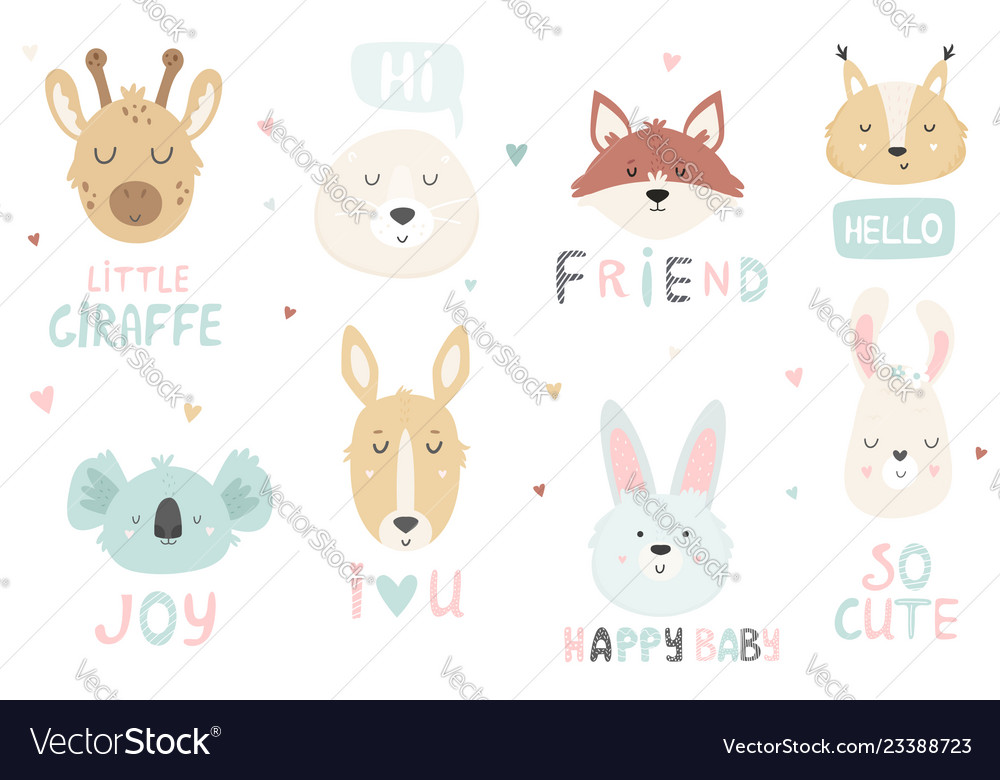 Big set of hand drawn cute animals ant text