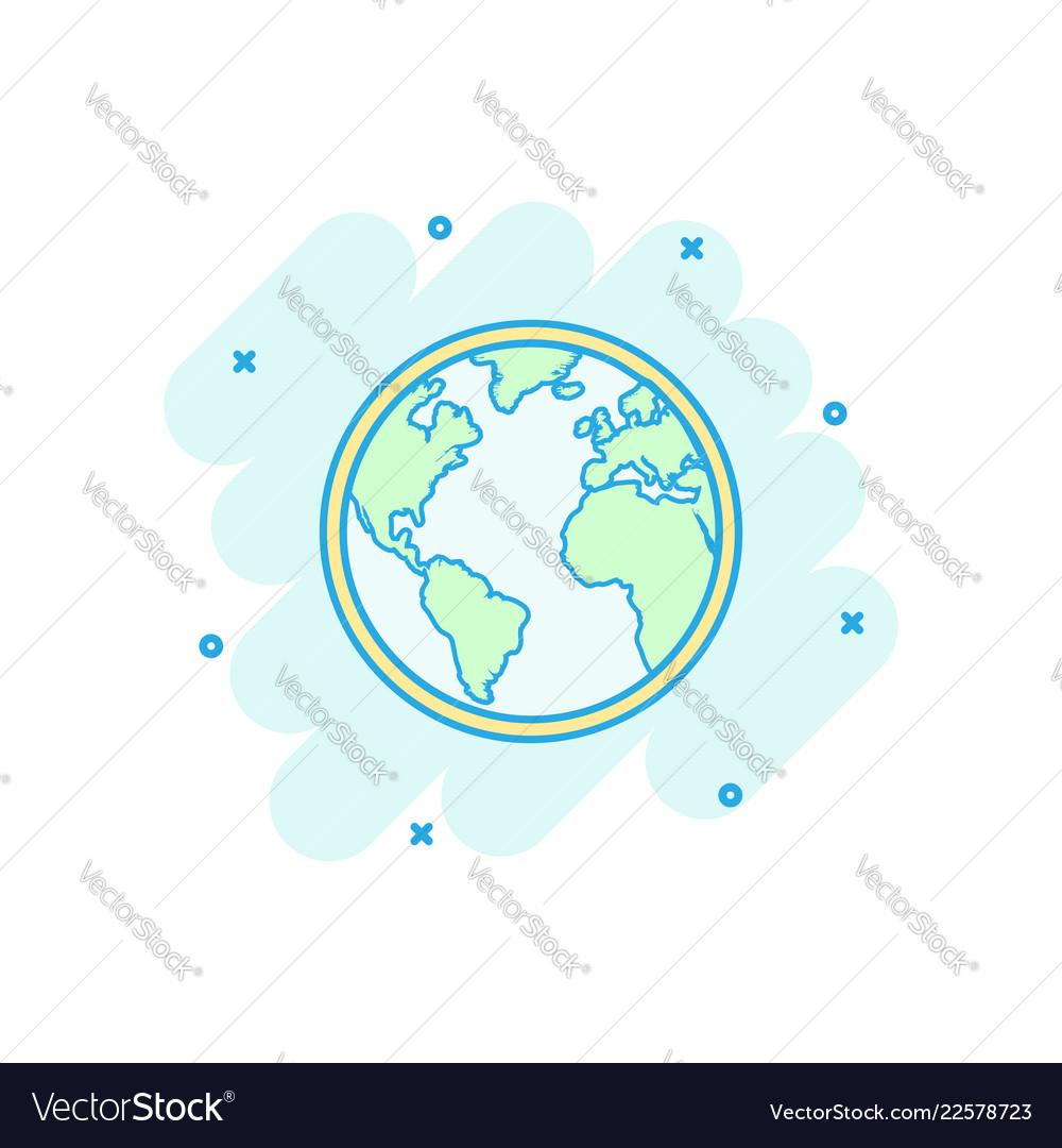 Round Globe Map.Cartoon Globe World Map Icon In Comic Style Round Vector Image