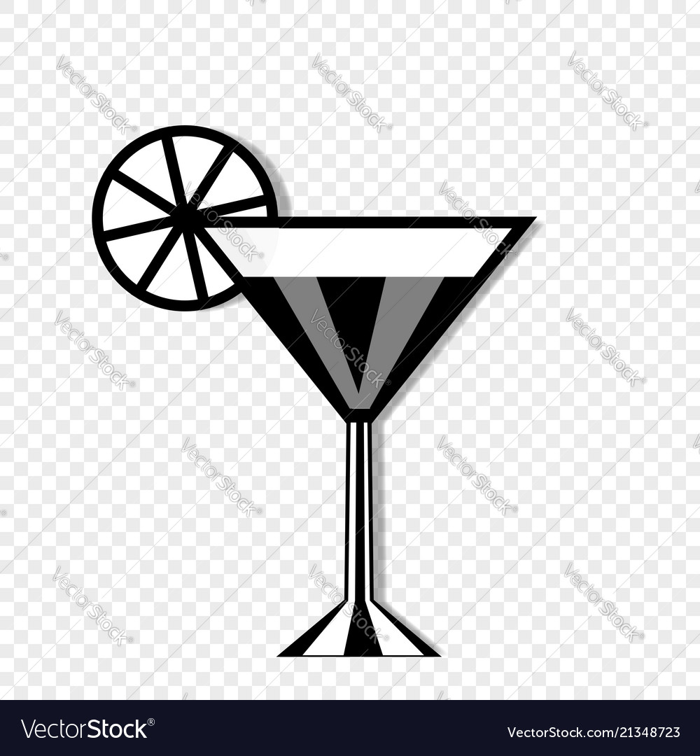 Cocktail glass and lemon icon isolated on