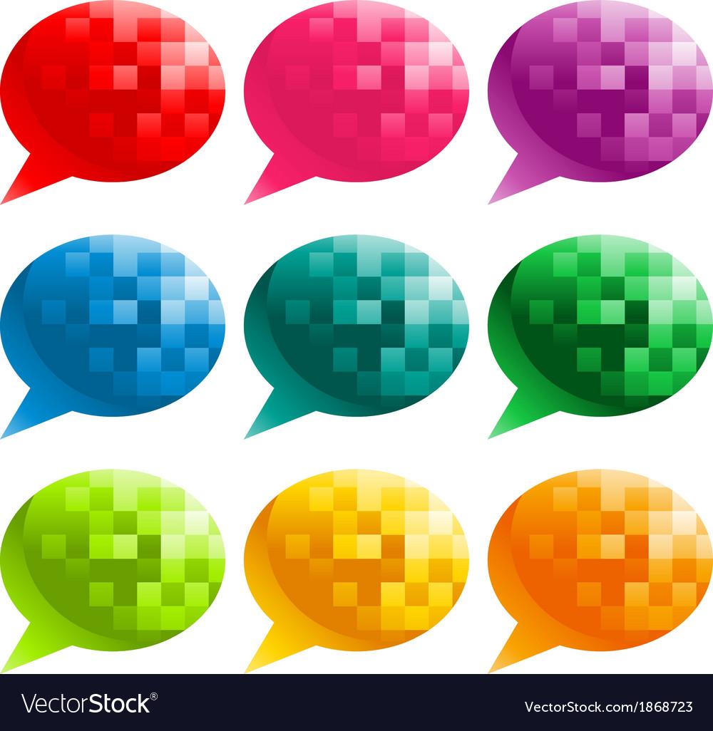 Colorful Pixel Speech Bubbles vector image