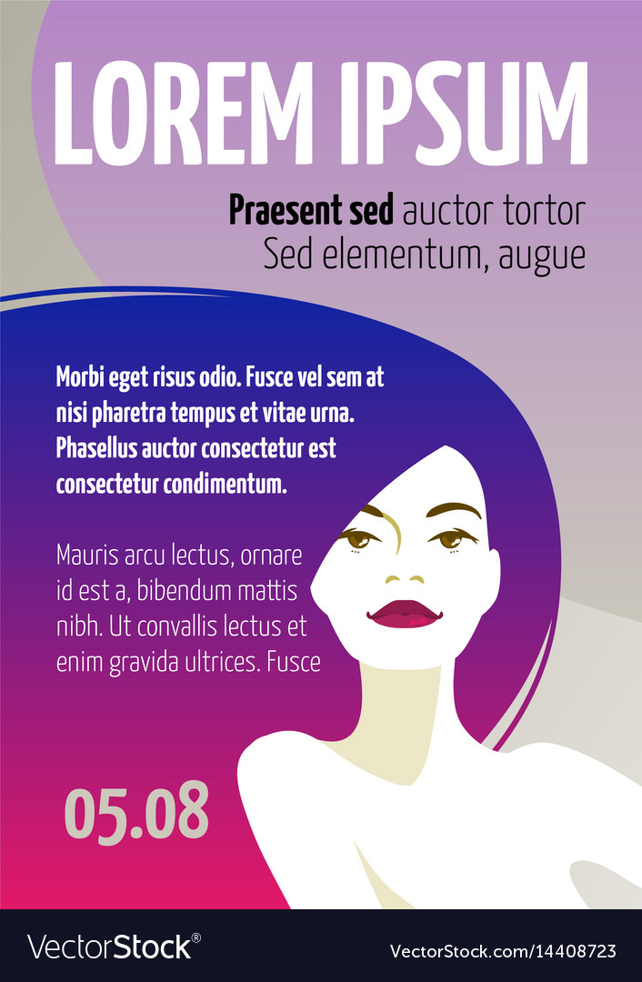 Design template with face of a beautiful woman vector image