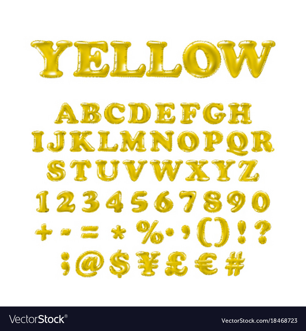 English alphabet and numerals from yellow
