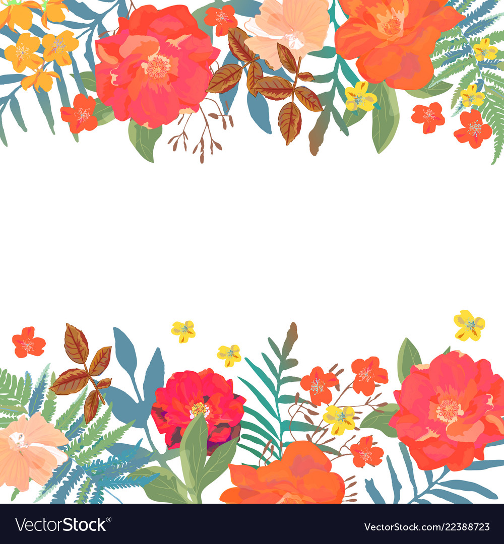 Floral background hand drawn flowers with place