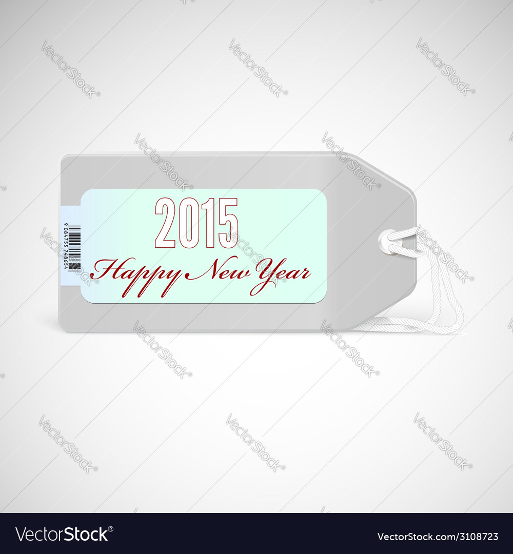 Greeting card with new year 2015 on the price tag vector image m4hsunfo