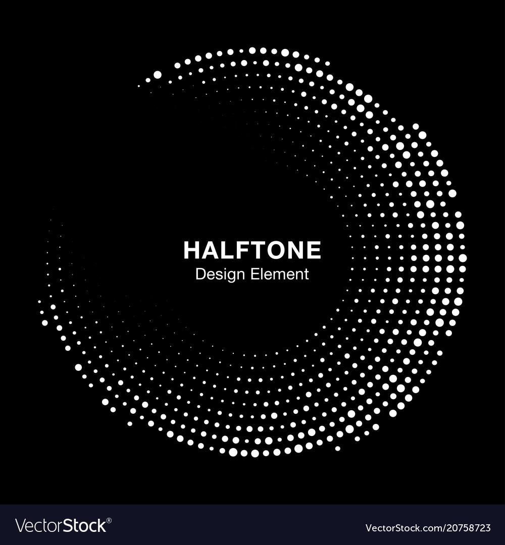 Halftone circle frame with abstract random dots