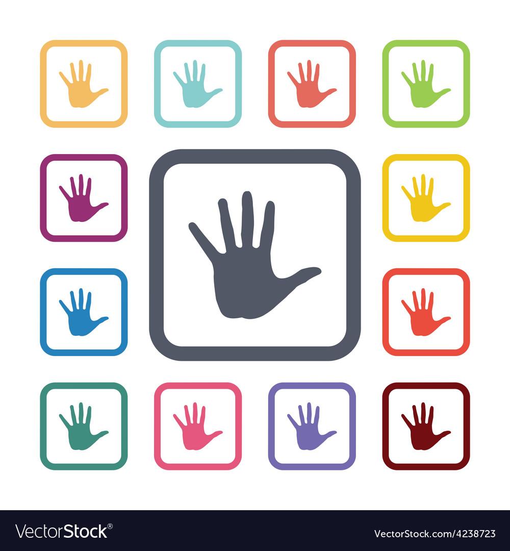 Hand flat icons set