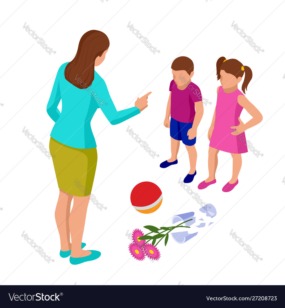 Isometric strict mother scolds her children for a