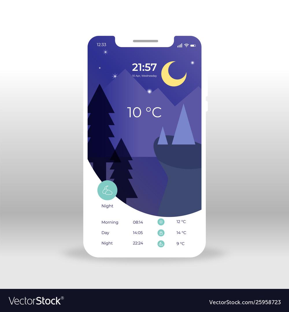 Purple nigh weather ui ux gui screen for mobile