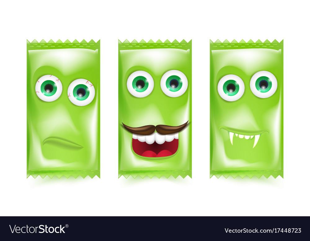 Set of green halloween sweets and candies vector image