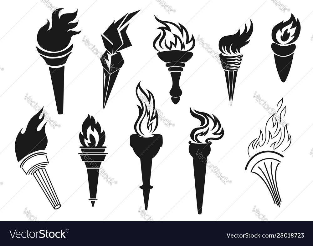 Torch burning fire light icons