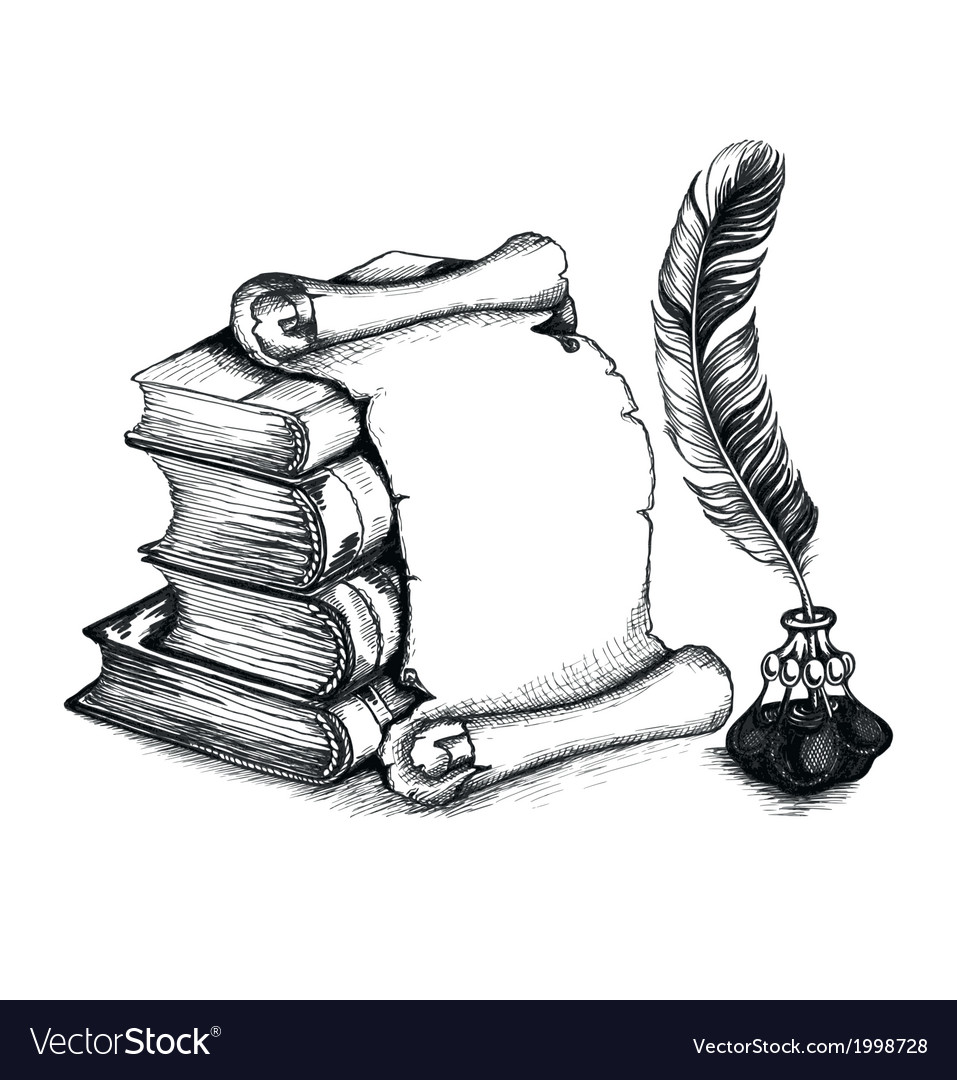 Academic and education set books scroll pen vector image