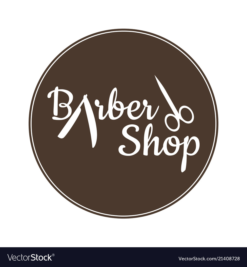 Barber shop vintage label badge or emblem