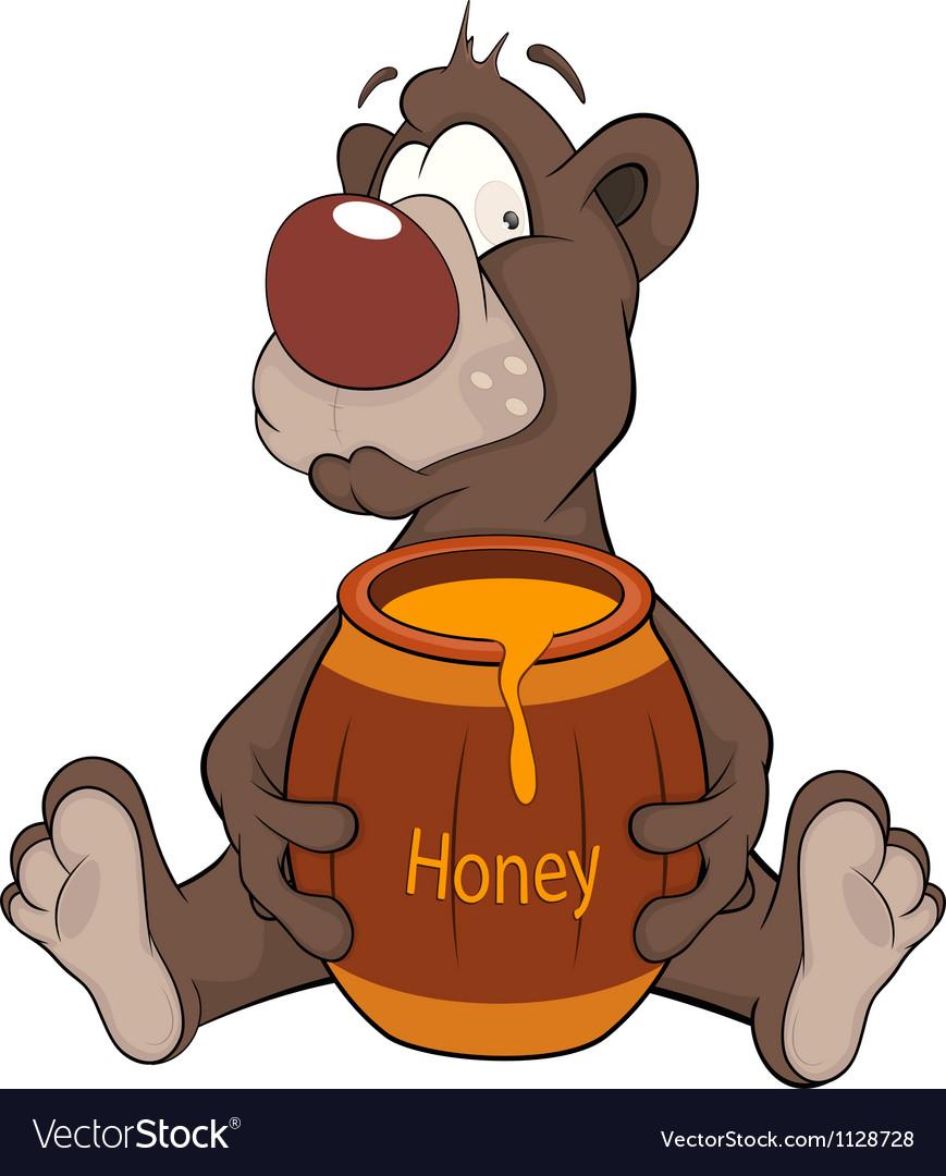 Bear and a wooden keg with honey Cartoon