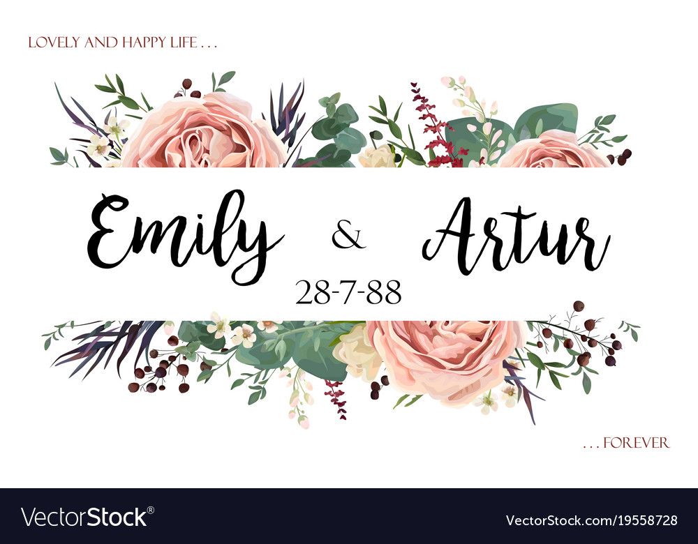 Boho wedding floral invite save the date card vector image