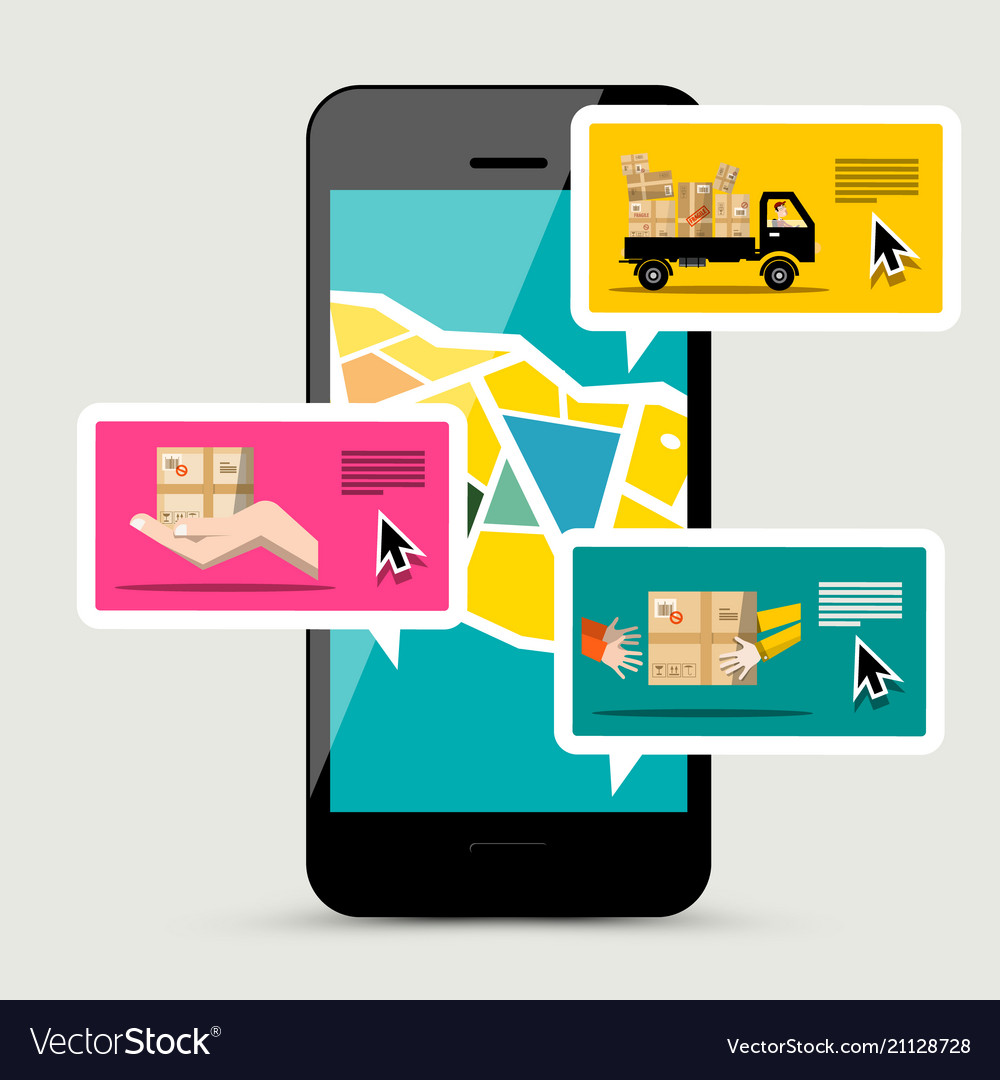 Cellphone with delivery service app of parcels