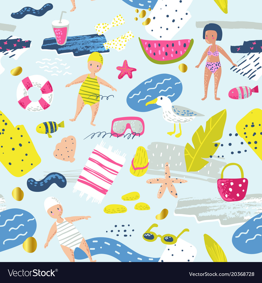 Childish summer beach vacation seamless pattern